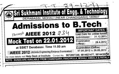 BTech Mock test (Sri Sukhmani Institute of Engineering and Technology)