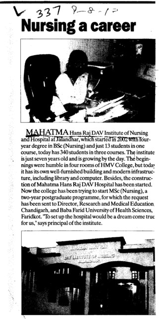 Nursing a Career (Mahatma Hans Raj DAV Institute of Nursing)