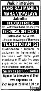 Technical Officer and Technician etc (Hans Raj Mahila Vidyalaya)