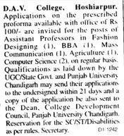 Assistant Professor on regular basis (DAV College)