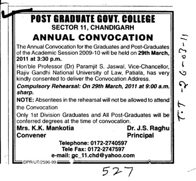 Annual Convocation for Post Graduates (Post Graduate Government College (Sector 11))