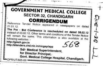 The Pre Bid Conference is rescheduled (Government Medical College and Hospital (Sector 32))