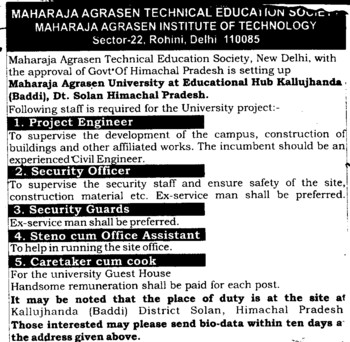 Project Engineer and Security Guards etc (Maharaja Agrasen Institute of Technology)
