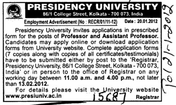Professor and Asstt Professor (Presidency University)