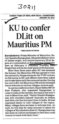 KU to confer DLitt on Mauritius PM (Kurukshetra University)