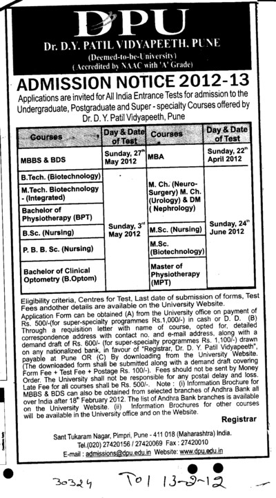 BTech,MBBS and BDS Courses (Dr DY Patil University)