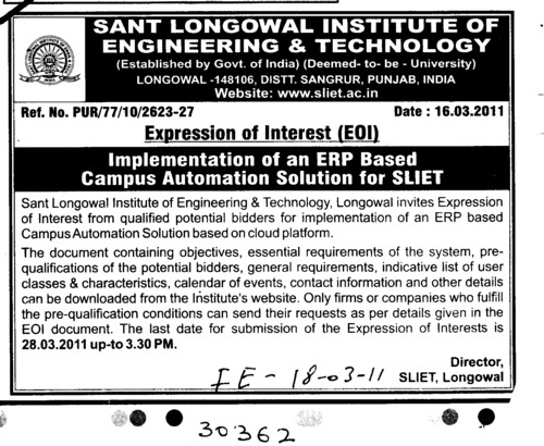 Implementation of an ERP Based Campus Automation Solution for SLIET (Sant Longowal Institute of Engineering and Technology SLIET)