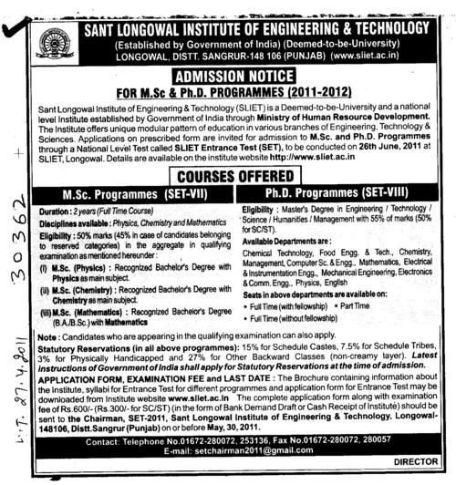 MSc and PhD Programmes (Sant Longowal Institute of Engineering and Technology SLIET)