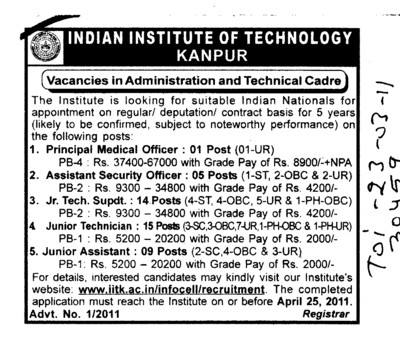 Principal in Medical Officer and Assistant Security Officer etc (Indian Institute of Technology (IITK))