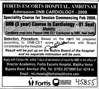 DNB Course in Cardiology (Fortis Hospital)