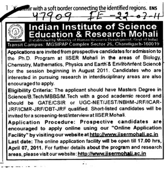 PhD Programmes (Indian Institute of Science Education and Research (IISER))