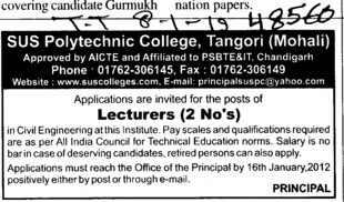 Lecturers required (SUS Polytechnic College)