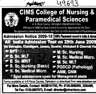 BPT,BSc MLT,MSc Nursing and GNM Courses etc (CIMS College of Nursing and Paramedical Sciences)