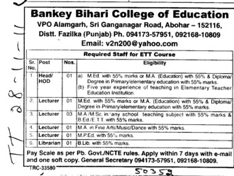 HOD,Lecturer and Librarian (Bankey Bihari Polytechnic College)