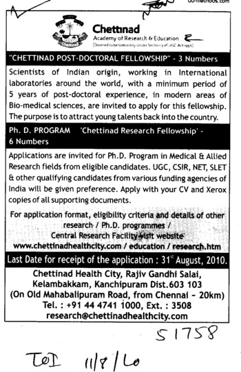 PhD Programmes (Chettinad University)