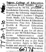 Principal and Lecturer on regular basis (Tagore College of Education)