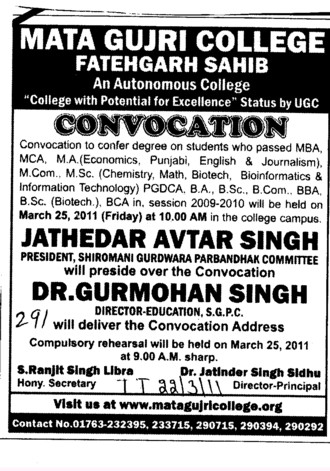 Convocation for PG Programmes (Mata Gujri College)