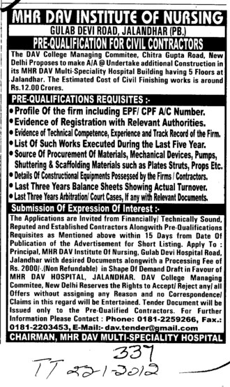 Pre qualification for Civil Contractors (Mahatma Hans Raj DAV Institute of Nursing)