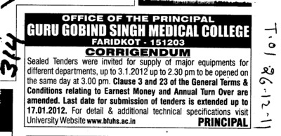 Supply of major Equipments (Guru Gobind Singh Medical College)