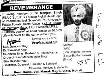 In remembrance of Dr Manjeet Singh (ISF College of Pharmacy)