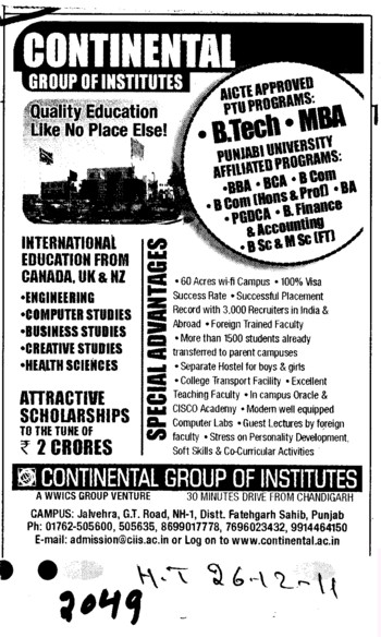 BTech and MBA Courses (Continental Group Institute Jalvehra)