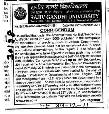Recruitment of teaching posts in various Department (RAJIV GANDHI UNIVERSITY)