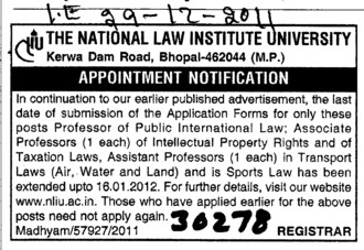 Professor of Public International Law (National Law Institute University (NLIU))