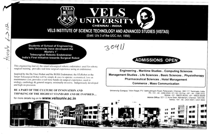 Management Studies,Mass Communication and Physiotherapy Courses etc (VELS University)
