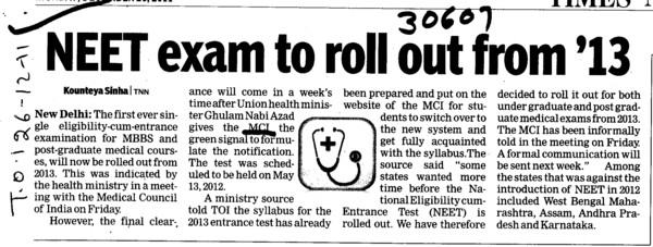 NEET Exam to roll out from 13 (Medical Council of India (MCI))