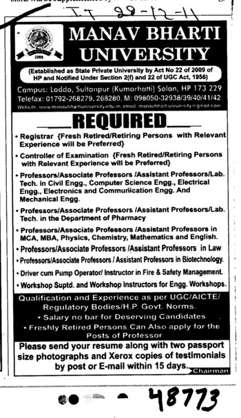 Professor,Asstt Professor and Associate Professor etc (Manav Bharti University (MBU))