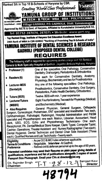Professor,Reader and Lecturer (Yamuna Group of Institutions)