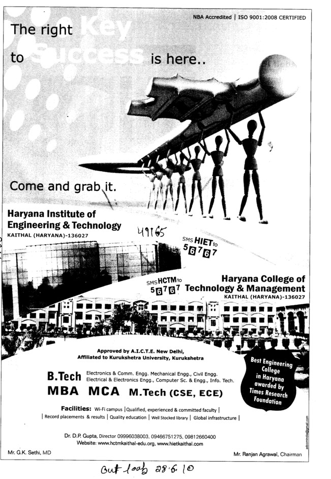 BTech,MBA and MCA Programmes (Haryana Institute of Engineering and Technology)