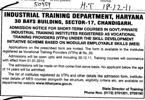 Short term Courses in Govt and Private Institutes (Department of Industrial Training and Vocational Education Haryana)