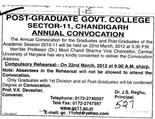 Annual Convocation for UG and PG Course Students (Post Graduate Government College (Sector 11))