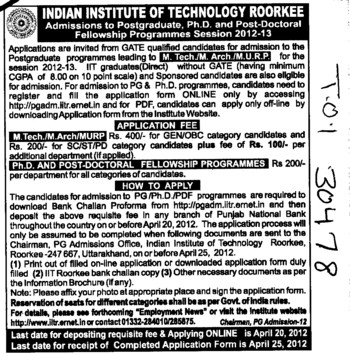 MTech,M Arch and PhD Programmes etc (Indian Institute of Technology (IITR))