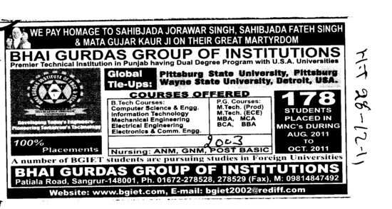 BTech in all trades (Bhai Gurdas Group of Institutions)