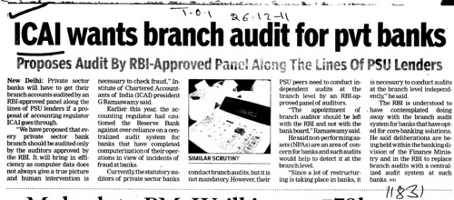 ICAI wants branch audit for pvt banks (Institute of Chartered Accountants of India (ICAI))