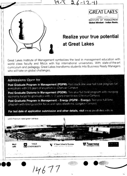 Post Graduate Programme in Management (Great Lakes Institute of Management)