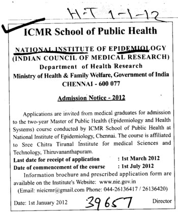 Master of Public Health Course (National Institute of Epidemiology)