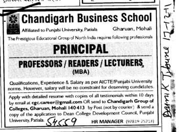 Principal,Professor,Readers and Lecturers (Chandigarh Business School)