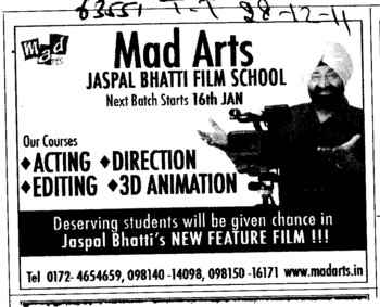 Acting,Direction,Editing and 3D Animations Courses (Mad Arts Jaspal Bhatti Film School)