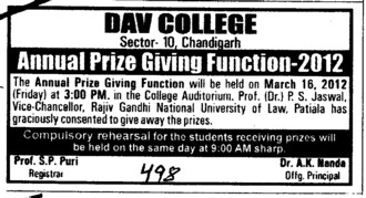 Annual Prize Giving Function 2012 (DAV College Sector 10)