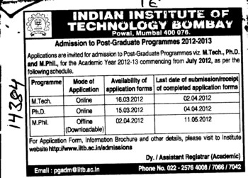 Post Graduate Programme 2012 2013 (Indian Institute of Technology (IITB))