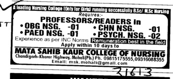 Professor and Reader for Paed Nsg and Psych Nsg etc (Mata Sahib Kaur College of Nursing)