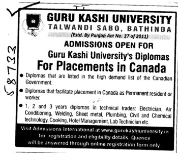 One,Two and Three years Diploma in Technical trades (Guru Kashi University)