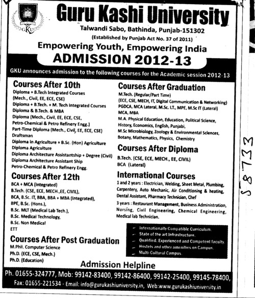 MTech,Btech and Diploma Courses (Guru Kashi University)