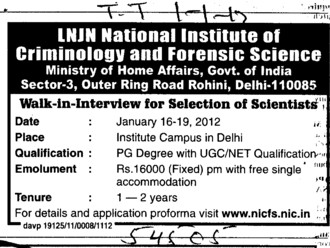 Selection of Scientists (Lok Nayak Jayaprakash National Institute of Criminology and Forensic Science)
