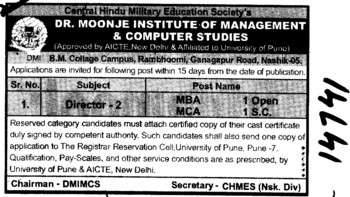 Two Directors required (Dr Moonje Institute of Management and Computer Studies (DMIMCS))