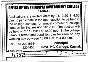 Annual contract of college canteen for the session 2012 2013 (Government Post Graduate College)