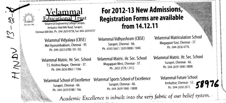 Academic Excellence in inbuilt into the very fabric of our belief system (Velammal Educational Trust Group)